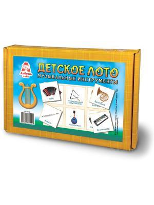 Детское лото Музыкальные инструменты Азбука Тойс. Цвет: голубой, светло-оранжевый