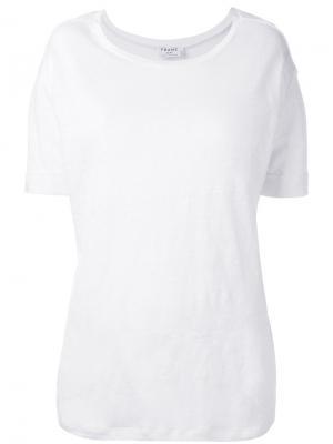 Однотонная футболка Frame Denim. Цвет: белый