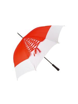 Зонт-трость с шнуровкой Дерево Счастья. Цвет: красный