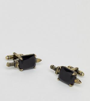 Reclaimed Vintage Золотисто-черные запонки в виде кинжалов Inspired эк. Цвет: золотой