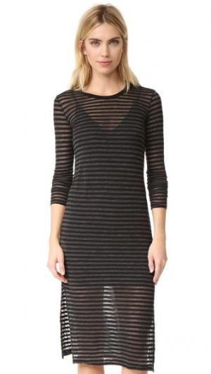 Платье в полоску с длинными рукавами Stateside. Цвет: голубой
