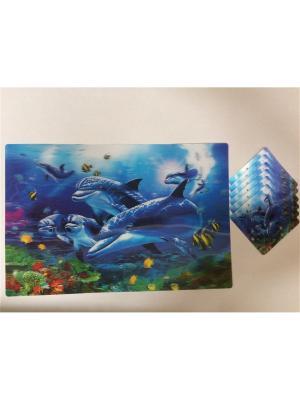 Набор плейсматов 3D,28x42см-6шт, 10x10см-6шт Dream time. Цвет: синий, голубой