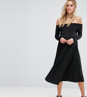 ASOS Maternity Платье миди для беременных с плиссировкой. Цвет: черный
