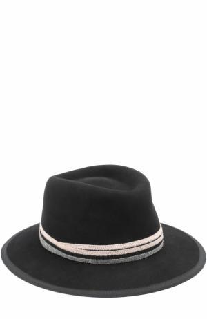 Фетровая шляпа с тесьмой Maison Michel. Цвет: черный
