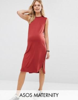 ASOS Maternity Платье-футболка без рукавов для беременных с закругленным низом M. Цвет: красный