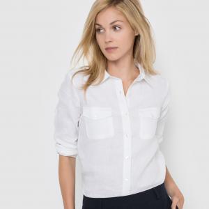 Рубашка с длинными рукавами, 100% лен La Redoute Collections. Цвет: белый,желто-каштановый,розовый-вишневый,серо-бежевый,синий морской