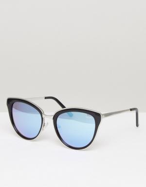 Quay Australia Черно-сиреневые солнцезащитные очки кошачий глаз Every. Цвет: черный