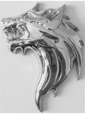 Наклейка 3D Голова волка серебряная WIIIX. Цвет: серебристый