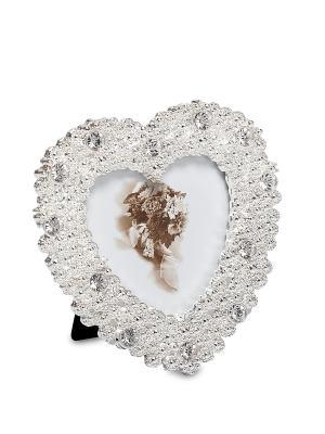 Фоторамка Жемчужное сердце 5*5 Bellezza casa. Цвет: серебристый