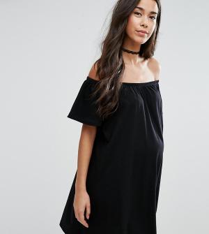 ASOS Maternity Платье мини для беременных с открытыми плечами. Цвет: черный