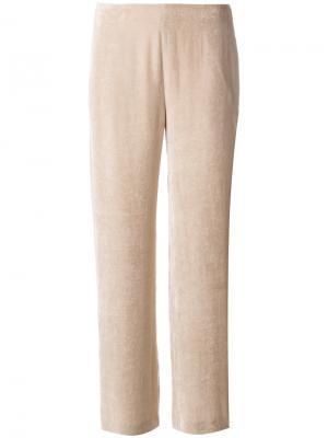 Прямые бархатные брюки Lamberto Losani. Цвет: телесный