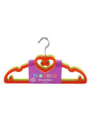 Набор вешалок из 6 штук EL CASA. Цвет: желтый, зеленый, оранжевый