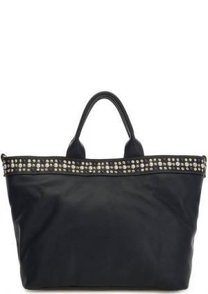 Вместительная синяя сумка из натуральной кожи Io Pelle. Цвет: синий