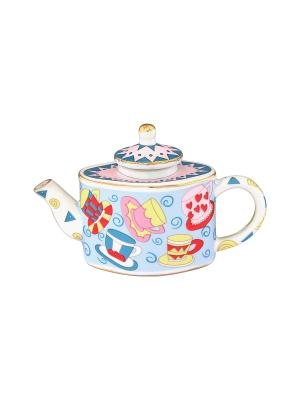 Сувенир-чайник Разноцветные чашки Elan Gallery. Цвет: голубой, красный, розовый, желтый
