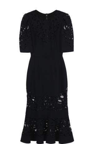 Приталенное платье с юбкой годе полупрозрачными вставками Dolce & Gabbana. Цвет: черный