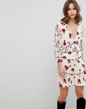 BA&SH Платье мини с цветочным принтом. Цвет: белый