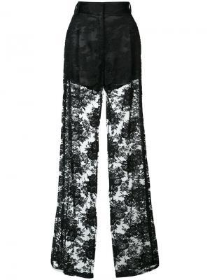 Прозрачные брюки-палаццо Ryan Roche. Цвет: чёрный