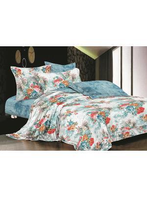 Комплект постельного белья 1,5 сп. сатин, рисунок 673 LA NOCHE DEL AMOR. Цвет: голубой