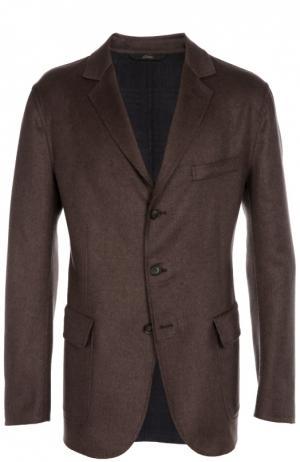 Однобортный пиджак из смеси шерсти и кашемира с шелком Brioni. Цвет: коричневый