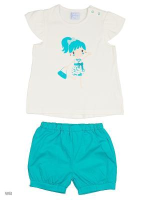 Футболка и шорты Cutie Bear. Цвет: белый, голубой