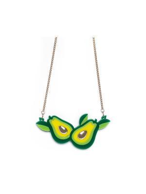 Колье Авокадо НечегоНадеть. Цвет: зеленый, желтый, золотистый