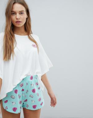Chelsea Peers Пижамные шорты с принтом кроликов. Цвет: зеленый