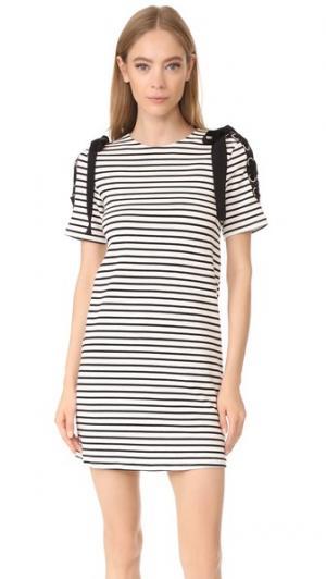 Платье в полоску с завязками ENGLISH FACTORY. Цвет: черный/белая полоска