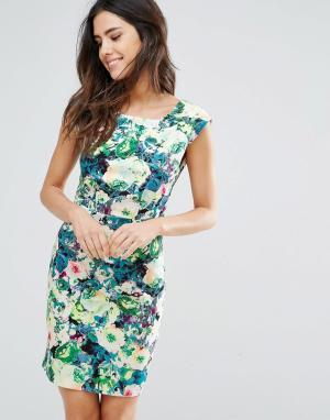 Louche Платье с овальным вырезом и цветочным принтом. Цвет: мульти