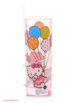 Стакан с витой соломинкой Hello Kitty Trudeau. Цвет: розовый, белый
