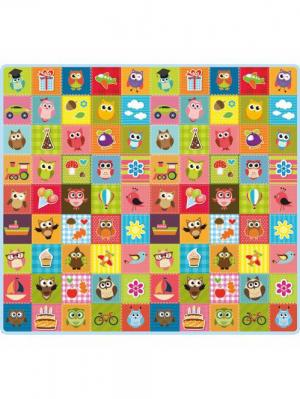 Детский развивающий коврик Совята односторонний 200х180х0,5 Mambobaby. Цвет: голубой