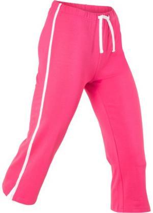 Спортивные брюки капри с эффектом стретч (ярко-розовый) bonprix. Цвет: ярко-розовый