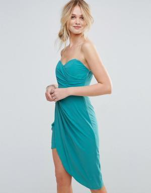 TFNC Платье бандо с присборенной драпировкой. Цвет: синий