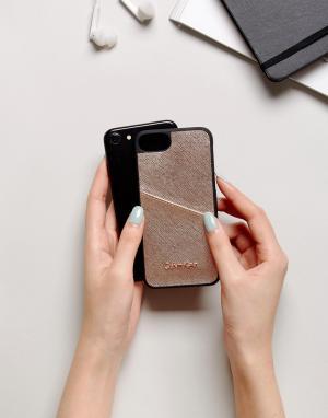 Calvin Klein Чехол с оттенком металлик и логотипом для IPhone 6/6s/7/8. Цвет: черный