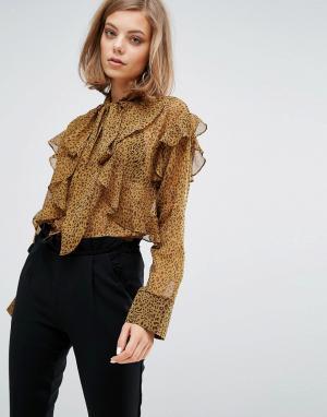 Sister jane Шифоновая блузка с оборками и леопардовым принтом. Цвет: коричневый