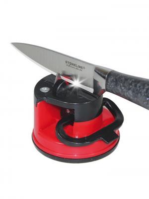 Точилка ножей на присоске Шарп RUGES. Цвет: черный, темно-красный