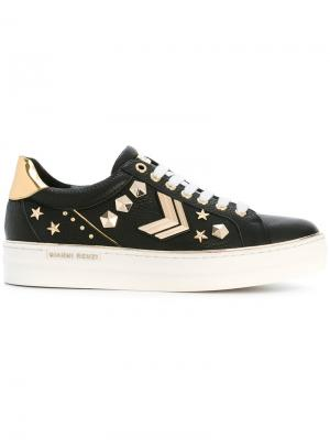 Embellished lace-up sneakers Gianni Renzi. Цвет: чёрный