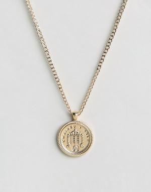 Chained & Able Золотистое ожерелье с медальоном. Цвет: золотой