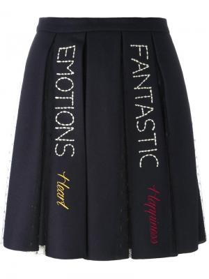 Плиссированная юбка с вышивкой Red Valentino. Цвет: синий