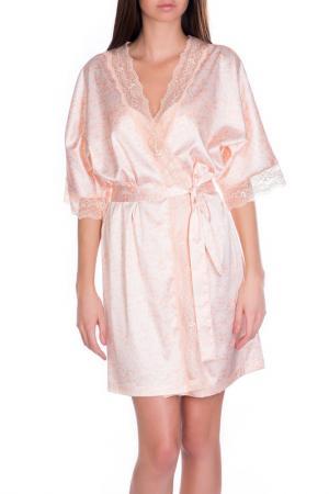 Халат-кимоно короткий Rose&Petal Homewear. Цвет: лососевый