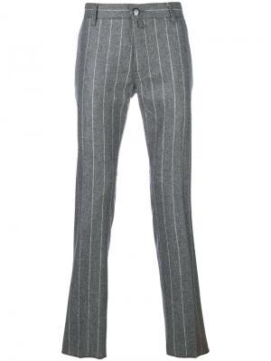 Классические брюки в полоску Jacob Cohen. Цвет: серый