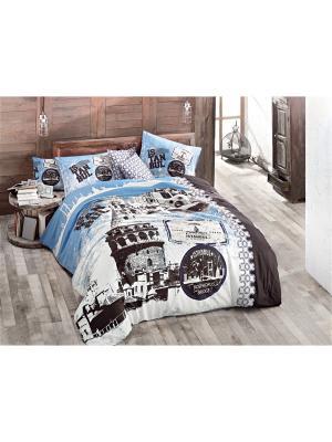 Комплект постельного белья ISTANBUL ранфорс, 145ТС, евро ISSIMO Home. Цвет: голубой