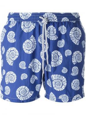 Плавательные шорты с принтом морских раковин Capricode. Цвет: синий