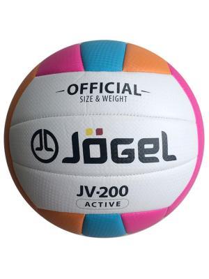 Мяч волейбольный Jogel JV-200. Цвет: голубой, оранжевый, розовый