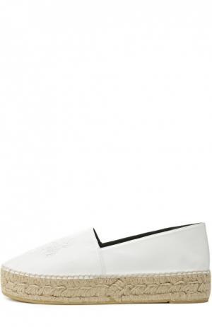 Кожаные эспадрильи Tiger с тиснением Kenzo. Цвет: белый