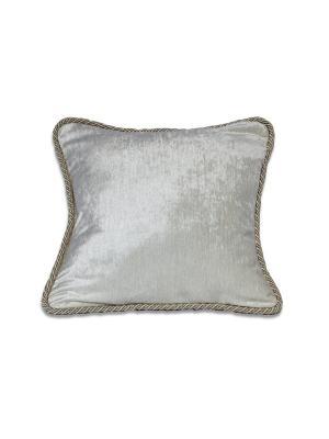 Подушка Сильвия-белый РЮШАЛЬ. Цвет: серебристый, белый