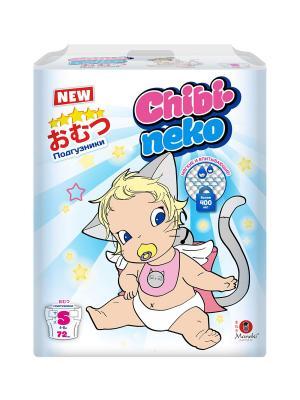 Подгузники детские одноразовые Chibi-neko, размер S, 4-8 кг, 72 шт Maneki. Цвет: белый