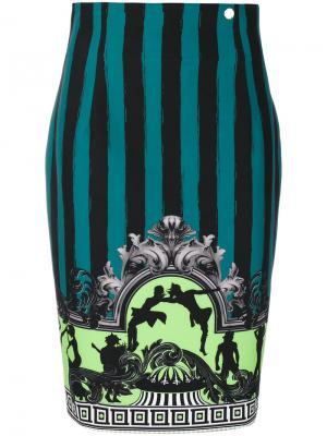 Юбка с вышивкой Versace Collection. Цвет: зелёный
