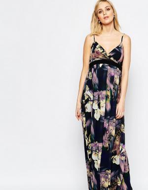 Little Mistress Maternity Платье макси для беременных с ярким цветочным принтом. Цвет: мульти
