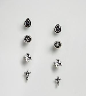 Reclaimed Vintage Серьги-гвоздики с крестами эксклюзивно для ASOS. Цвет: серебряный