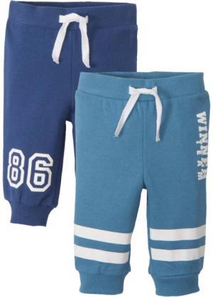 Для малышей: трикотажные брюки из органического хлопка (2 шт.) (синий джинсовый/ночная синь) bonprix. Цвет: синий джинсовый/ночная синь